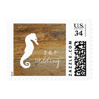 Rustic Wooden Seahorse Postage Stamp