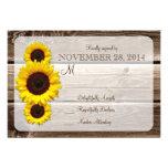 Rustic Wooden Sunflower Wedding Invitation RSVP1.0