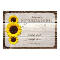 Rustic Wooden Sunflower Wedding Invitation RSVP1.0 (<em>$1.96</em>)