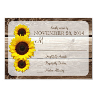 Rustic Wooden Sunflower Wedding Invitation RSVP1.0