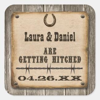 Rustic Wooden Western Style Wedding Favor Sticker