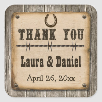 Rustic Wooden Western Style Wedding Favor Sticker