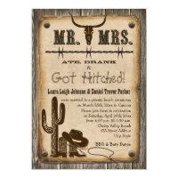 Rustic Wooden Western Wedding Reception Invite