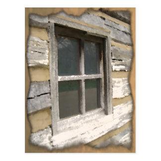 Rustic Wooden Window Postcard