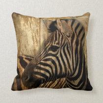 rustic woodgrain Africa safari animal  zebra Throw Pillow
