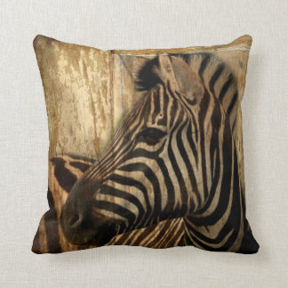 rustic woodgrain Africa safari animal  zebra Throw Pillow
