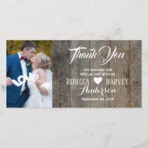 Rustic woodgrain barn wedding thank you