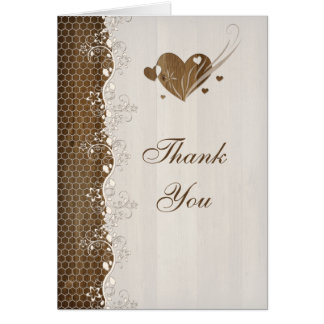 Rustic Woodgrain Floral Lace Hearts Thank You Card Card