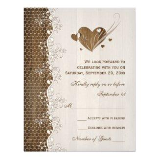 Rustic Woodgrain Floral Lace Hearts Wedding RSVP