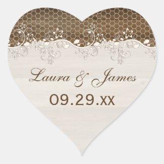 Rustic Woodgrain Floral Lace Wedding Favor Sticker