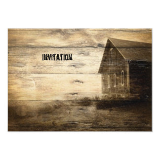 rustic woodgrain western country party invitations