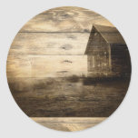 rustic woodgrain western farmhouse country classic round sticker