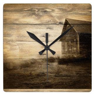 rustic woodgrain western farmhouse country clock