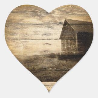rustic woodgrain western farmhouse country heart sticker