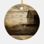 rustic woodgrain western farmhouse country Double-Sided ceramic round christmas ornament