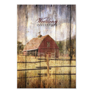 rustic woodgrain western red barn country wedding card