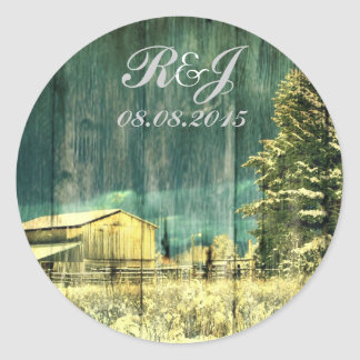 rustic woodgrain western winter country wedding classic round sticker