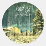 rustic woodgrain western winter country wedding stickers
