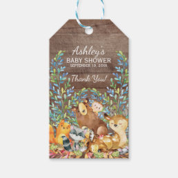 Rustic Woodland Animals Baby Shower Favor Gift Tag