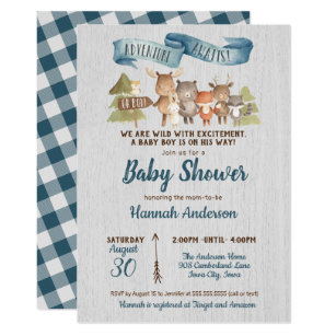 Rustic Woodland Animals Boy Baby Shower Invitation