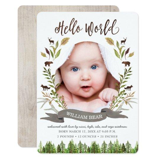 rustic woodland baby boy birth announcement cards