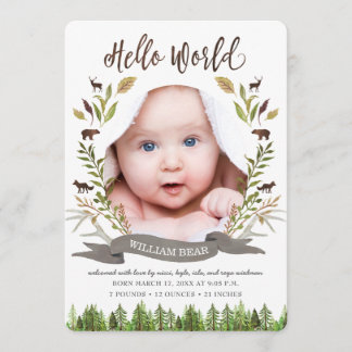 Rustic Woodland Baby Boy Birth Announcement Cards