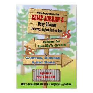 """Rustic Woodland Baby Shower Party Invitations 5"""" X 7"""" Invitation Card"""