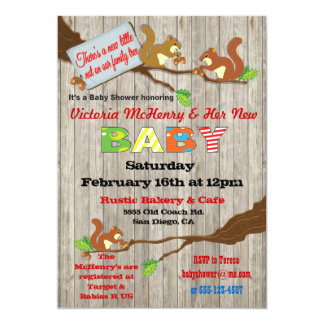 Rustic Woodland Baby Squirrel Baby Shower Invites