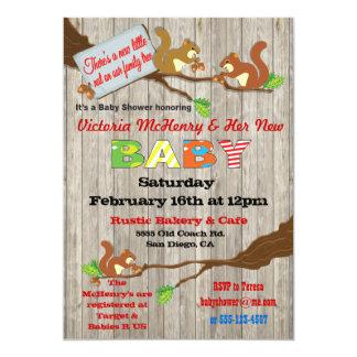 "Rustic Woodland Baby Squirrel Baby Shower Invites 5"" X 7"" Invitation Card"