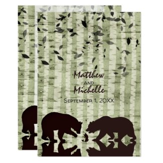 Rustic Woodland Bears Fishing, Birch Trees Wedding Invitation