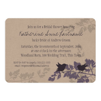Rustic Woodland Birds Bridal Shower 5x7 Paper Invitation Card