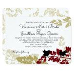 Rustic Woodland Birds Burgundy and Gold Wedding Card