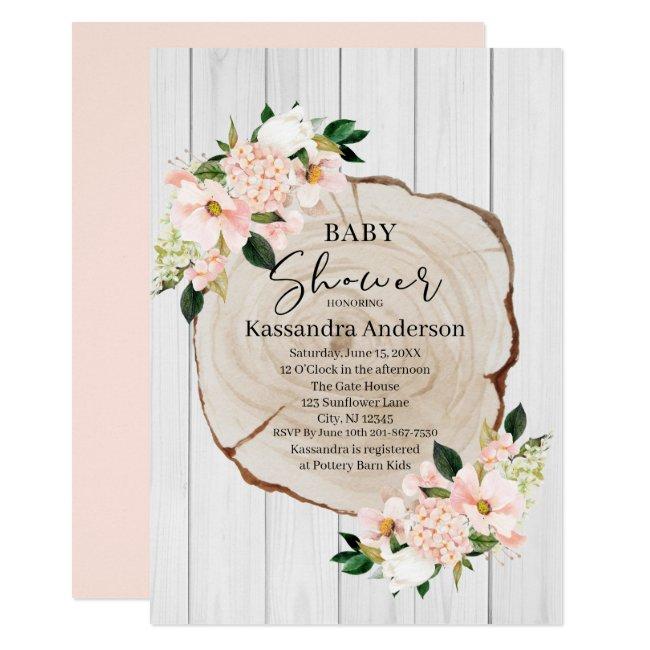 Rustic Woodland Blush Floral Baby Shower Invitation