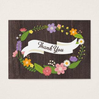 Rustic Woodland Bohemian Floral Wreath Wedding Business Card