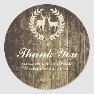 Rustic Woodland Buck and Deer Wedding Thank You Classic Round Sticker