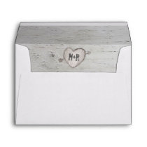 Rustic Woodland Carved Heart Birch Tree Envelope