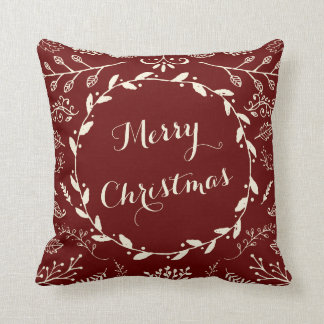 Rustic Woodland Christmas Holiday Bendel Throw Pillow