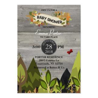 Rustic Woodland Creature Baby Shower Invitation