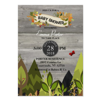 rustic woodland creature baby shower invitation