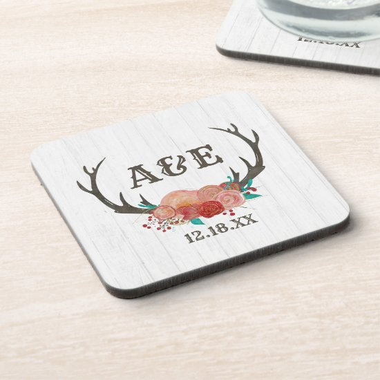 Rustic Woodland Deer Antler Boho Wedding Monogram Coaster