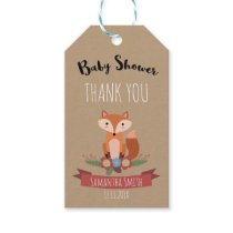Rustic Woodland Fox Baby Shower Gift Tag