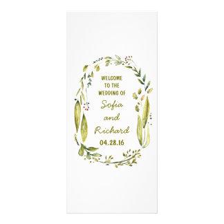 rustic woodland laurel watercolor wedding programs