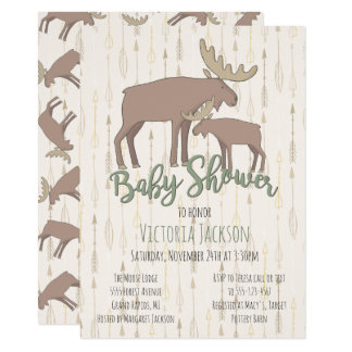 Rustic Woodland Moose and Baby Shower Card
