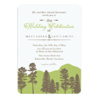 Rustic Woodland Mountain and Trees Wedding Invite