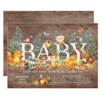 Rustic Woodland Neutral Baby Shower Invitation