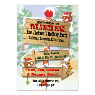 Rustic Woodland North Pole Signs Holiday Party Card