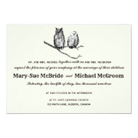 Rustic Woodland Owls Wedding Invitation