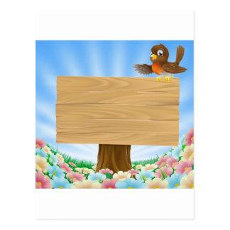 Rustic woodland sign postcard