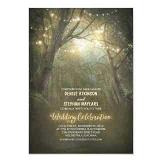 Rustic Woodland String Lights Trees Wedding Card