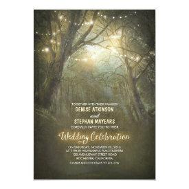 Rustic Woodland String Lights Wedding Invite